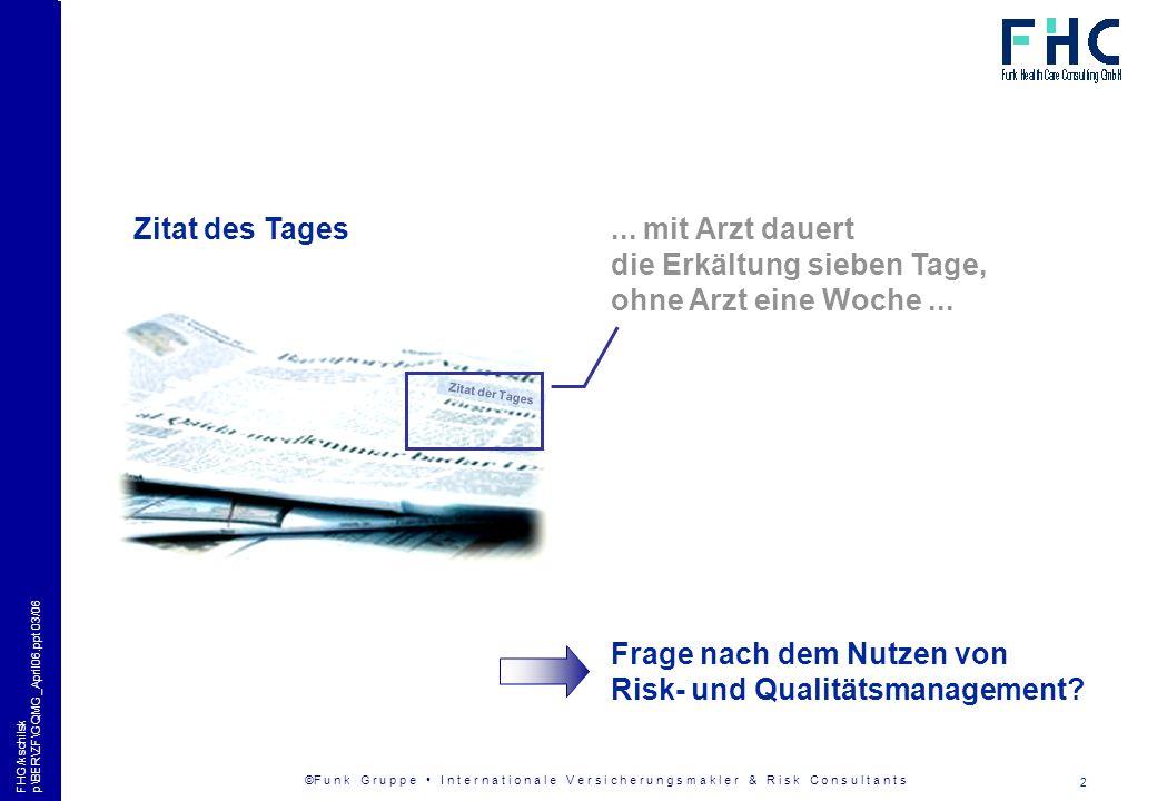 ©F u n k G r u p p e I n t e r n a t i o n a l e V e r s i c h e r u n g s m a k l e r & R i s k C o n s u l t a n t s 13 FHG/kschilsk p\BER\ZF\GQMG_April06.ppt 03/06 Kommunikationsdaten Funk Health Care Consulting GmbH (FHC) Budapester Straße 31 10787 Berlin Wolf Dieter Kelchfon +49 (0)30 250092-713 (Geschäftsführer)w.kelch@funk-gruppe.de Ralf Erdmannfon +49 (0)30 250092-712 (Risk Manager)r.erdmann@funk-gruppe.de Kerstin Schilskyfon +49 (0)30 250092-719 (Support)k.schilsky@funk-gruppe.de fax +49 (0)30 250092-799