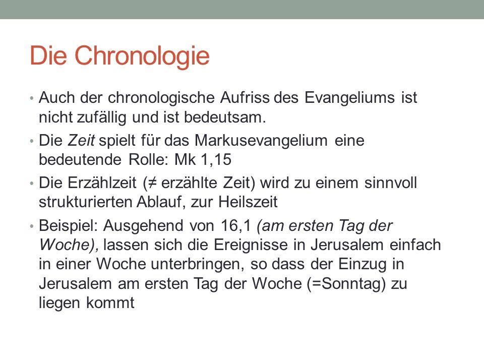 Die Chronologie Auch der chronologische Aufriss des Evangeliums ist nicht zufällig und ist bedeutsam.