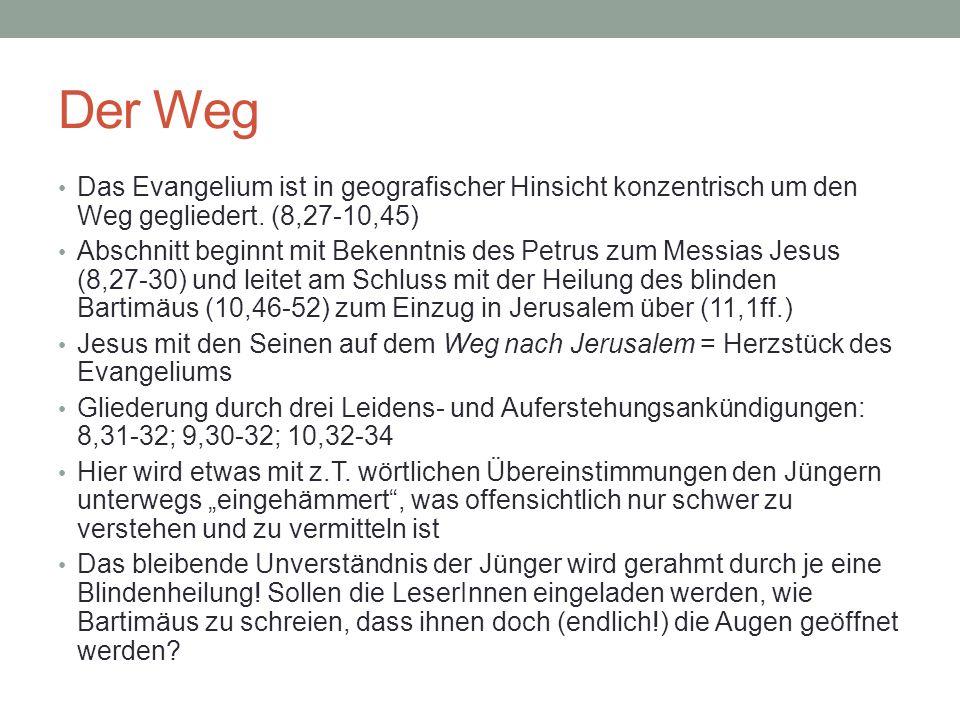 Der Sohn Gottes An drei zentralen Stellen im Markusevangelium wird Jesus als Sohn Gottes proklamiert: > bei der Taufe (1,9-11) – anschl.