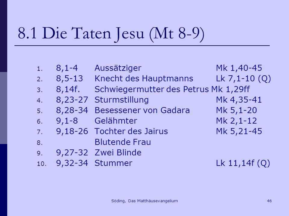 Söding, Das Matthäusevangelium46 8.1 Die Taten Jesu (Mt 8-9) 1.