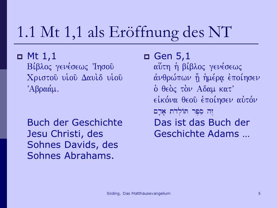 Söding, Das Matthäusevangelium6 1.2 Mt 28,16-20 - Grundlegung des NT Mt 28,16-20 16 Die elf Junger aber gingen nach Galiläa auf den Berg, den Jesus ihnen gewiesen hatte, 17 und als sie ihn sahen, fielen sie nieder, zweifelten aber.