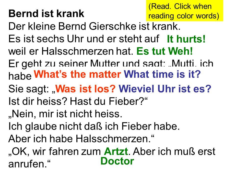Bernd ist krank Der kleine Bernd Gierschke ist krank. Es ist sechs Uhr und er steht auf weil er Halsschmerzen hat. Es tut Weh! Er geht zu seiner Mutte