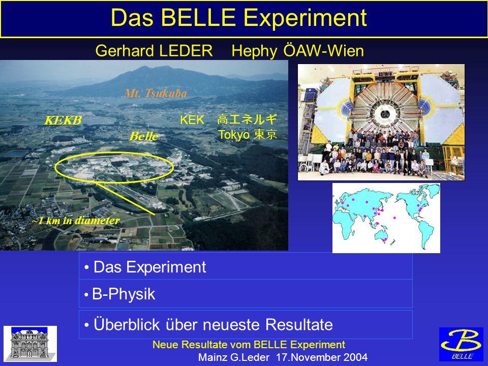 Neue Resultate vom BELLE Experiment Mainz G.Leder 17.November 2004 Das BELLE Experiment Das Experiment B-Physik Überblick über neueste Resultate Gerhard LEDER Hephy ÖAW-Wien ~1 km in diameter Mt.