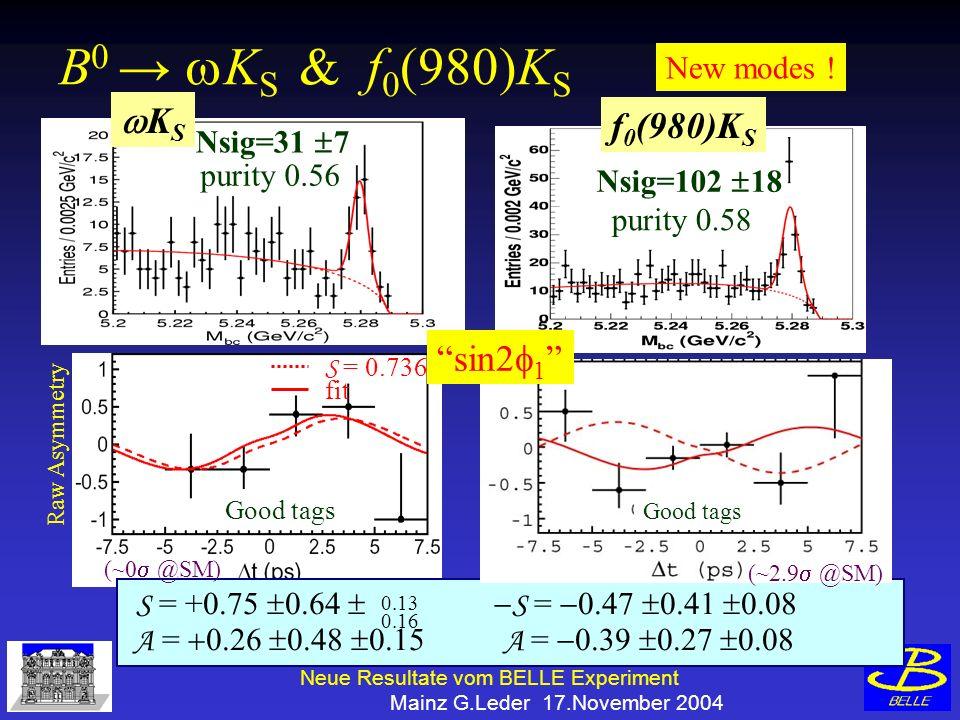 Neue Resultate vom BELLE Experiment Mainz G.Leder 17.November 2004 K S New modes .