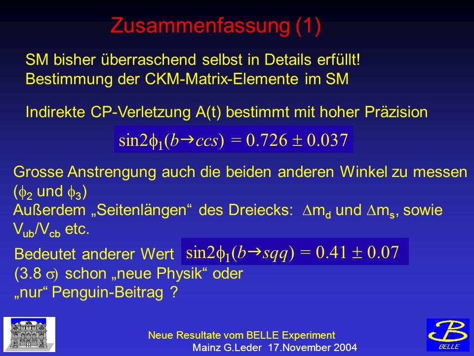 Neue Resultate vom BELLE Experiment Mainz G.Leder 17.November 2004 Zusammenfassung (1) SM bisher überraschend selbst in Details erfüllt.