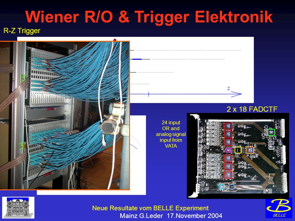 Neue Resultate vom BELLE Experiment Mainz G.Leder 17.November 2004 Wiener R/O & Trigger Elektronik R-PHI Trigger R-Z Trigger 24 input OR and analog signal input from VATA 2 x 18 FADCTF