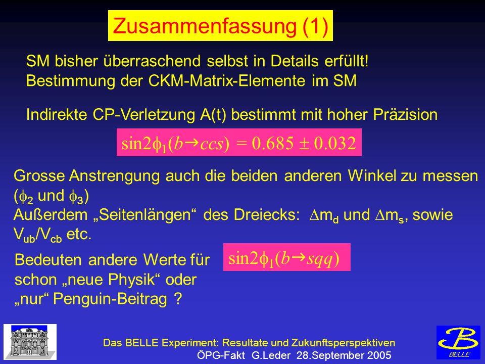 Das BELLE Experiment: Resultate und Zukunftsperspektiven ÖPG-Fakt G.Leder 28.September 2005 Zusammenfassung (1) SM bisher überraschend selbst in Details erfüllt.