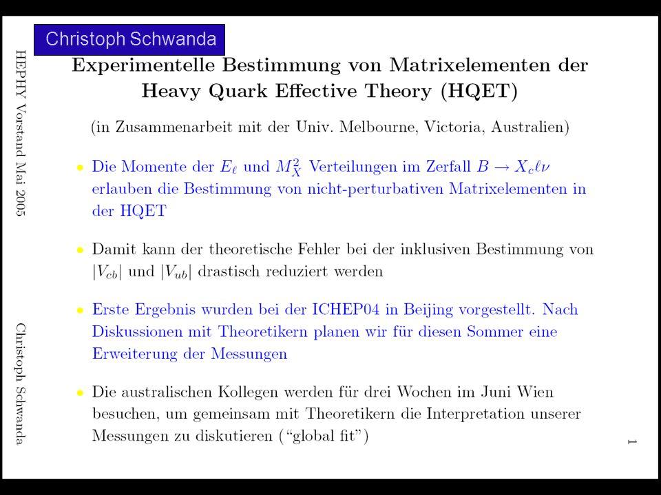 Das BELLE Experiment: Resultate und Zukunftsperspektiven ÖPG-Fakt G.Leder 28.September 2005 Christoph Schwanda