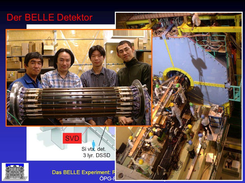 Das BELLE Experiment: Resultate und Zukunftsperspektiven ÖPG-Fakt G.Leder 28.September 2005 Unterschied SVD1.6 und SVD2.0 R beampipe 15 mm R layer 1 20 mm R outside 88 mm 6+12+18+18=54 Ladders SVD2 R beampipe 20 mm R layer 1 30 mm R outside 60 mm 8+10+14=32 Ladders SVD1