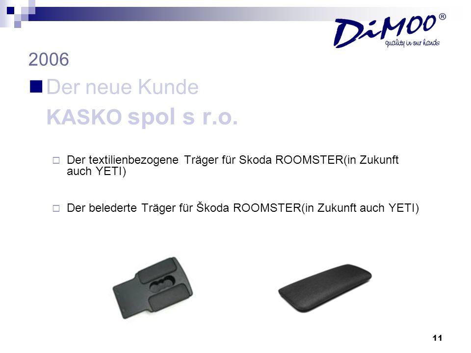 11 2006 Der neue Kunde KASKO spol s r.o. Der textilienbezogene Träger für Skoda ROOMSTER(in Zukunft auch YETI) Der belederte Träger für Škoda ROOMSTER
