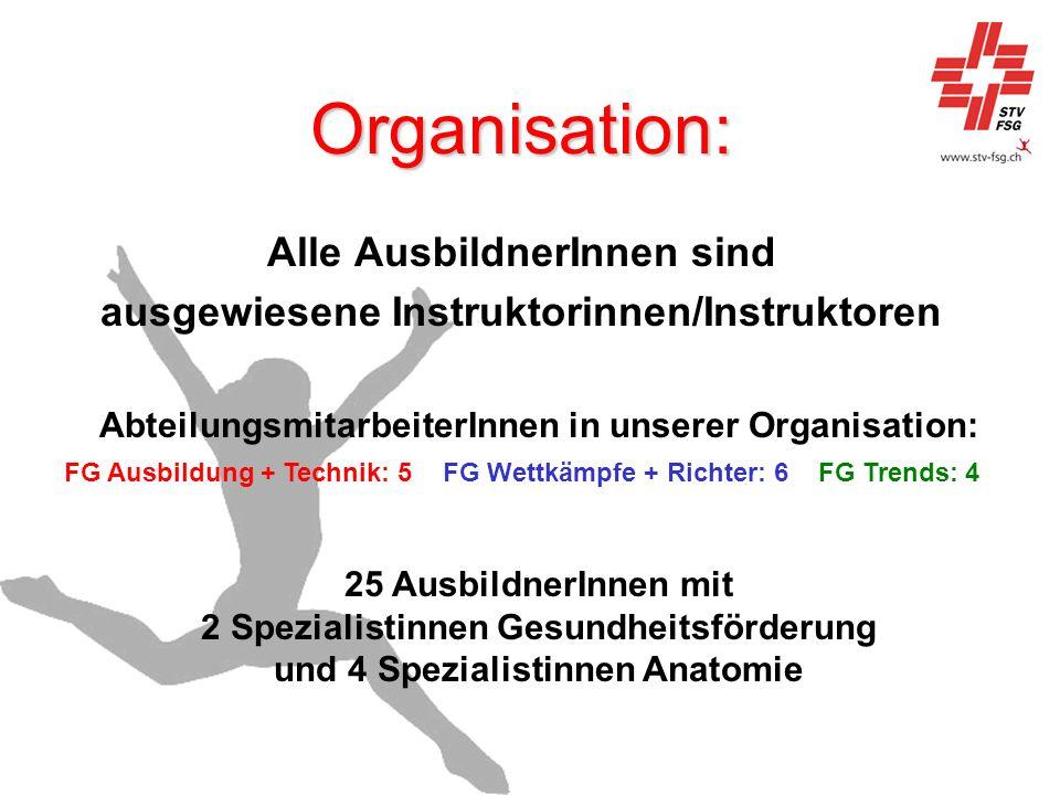 Organisation: Alle AusbildnerInnen sind ausgewiesene Instruktorinnen/Instruktoren AbteilungsmitarbeiterInnen in unserer Organisation: FG Ausbildung +