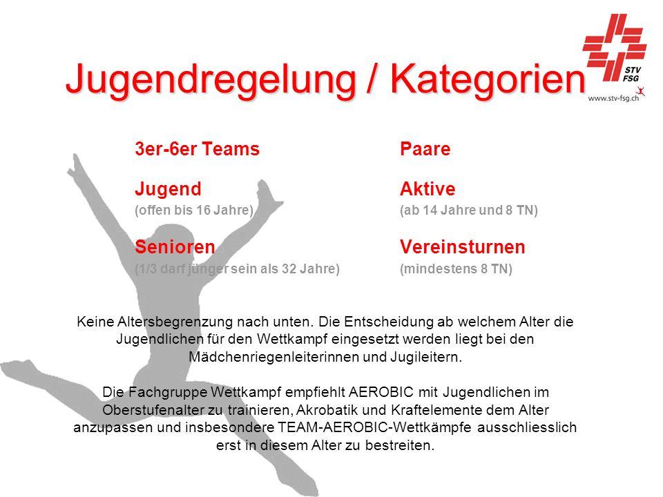 Jugendregelung / Kategorien 3er-6er TeamsPaare Jugend Aktive (offen bis 16 Jahre)(ab 14 Jahre und 8 TN) Senioren Vereinsturnen (1/3 darf jünger sein a