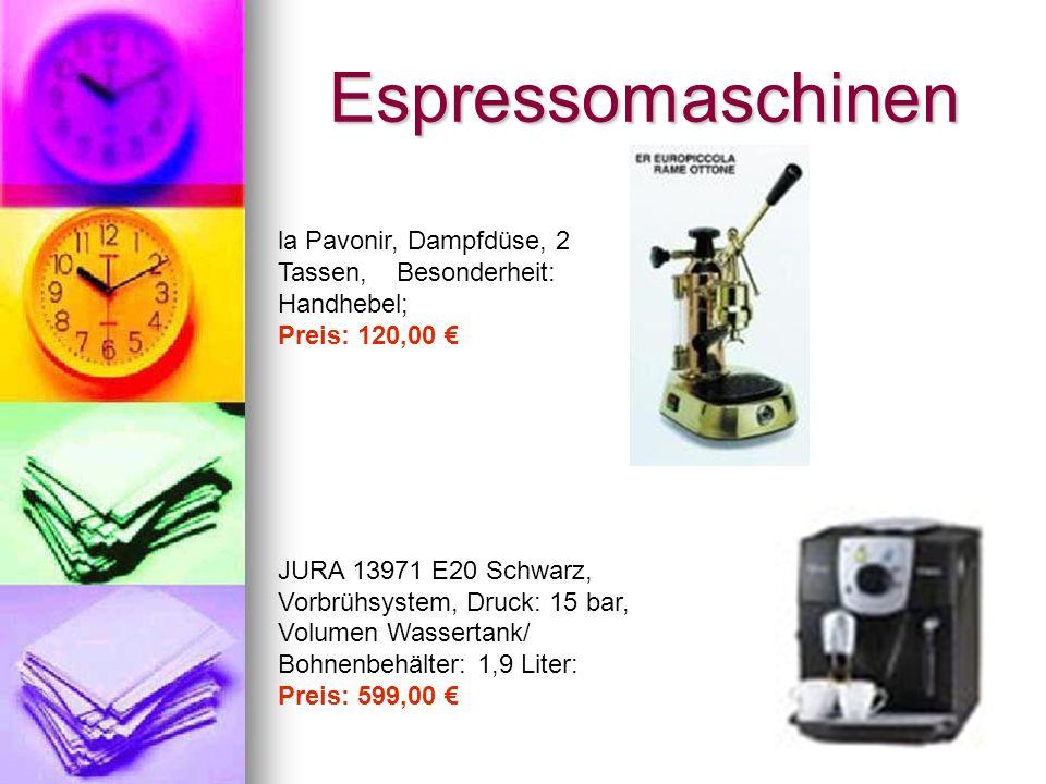 Espressomaschinen la Pavonir, Dampfdüse, 2 Tassen, Besonderheit: Handhebel; Preis: 120,00 JURA 13971 E20 Schwarz, Vorbrühsystem, Druck: 15 bar, Volumen Wassertank/ Bohnenbehälter: 1,9 Liter: Preis: 599,00