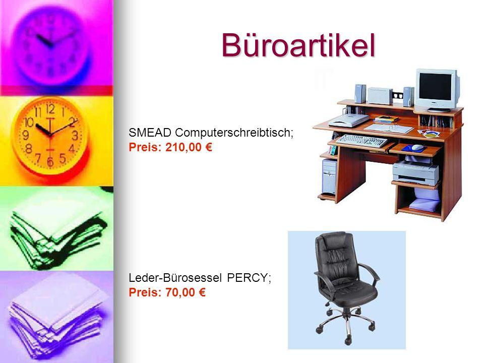 Büroartikel SMEAD Computerschreibtisch; Preis: 210,00 Leder-Bürosessel PERCY; Preis: 70,00
