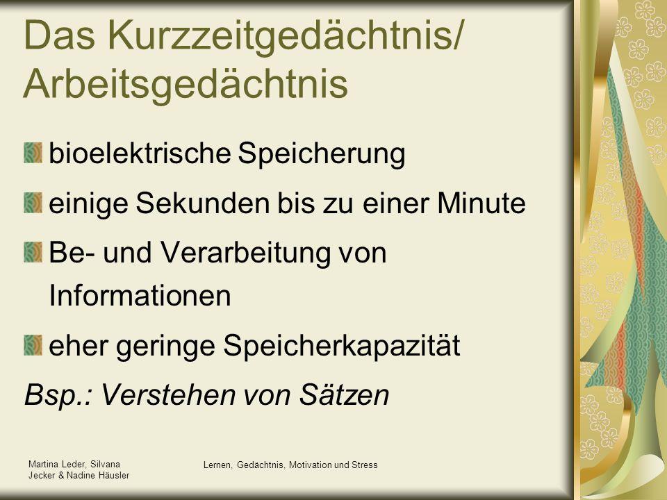 Martina Leder, Silvana Jecker & Nadine Häusler Lernen, Gedächtnis, Motivation und Stress Das Kurzzeitgedächtnis/ Arbeitsgedächtnis bioelektrische Spei
