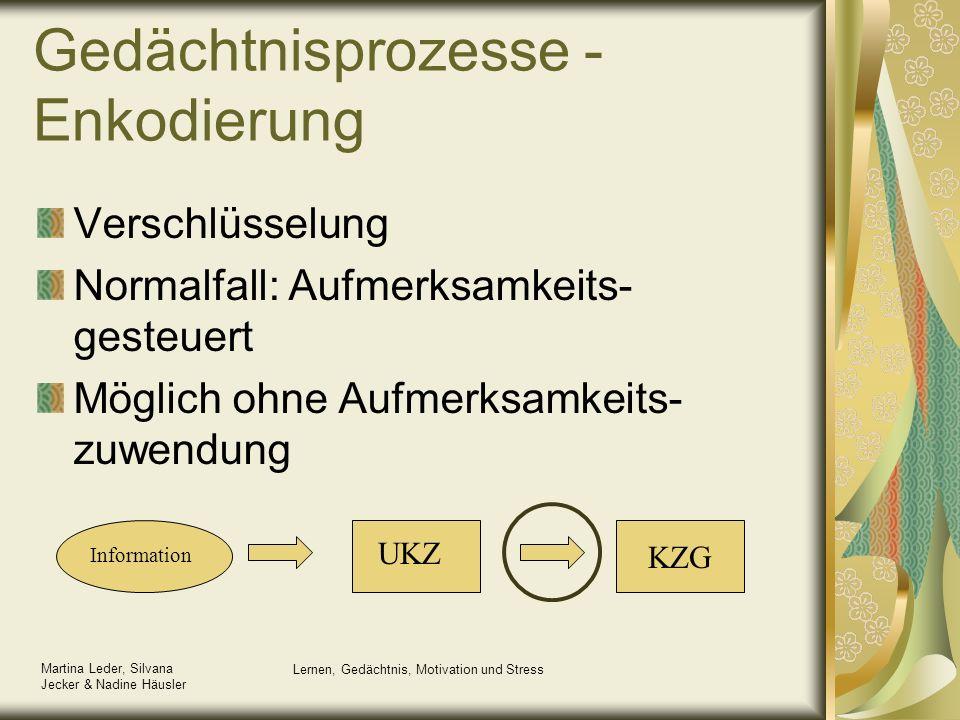 Martina Leder, Silvana Jecker & Nadine Häusler Lernen, Gedächtnis, Motivation und Stress Information UKZ KZG Gedächtnisprozesse - Enkodierung Verschlü