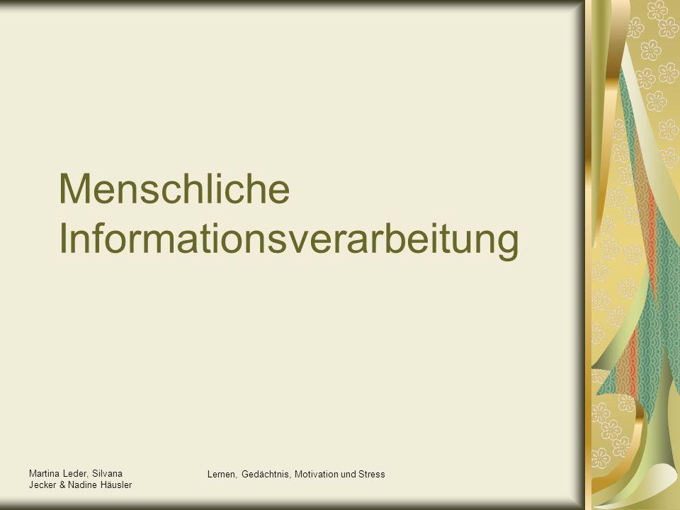 Martina Leder, Silvana Jecker & Nadine Häusler Lernen, Gedächtnis, Motivation und Stress Menschliche Informationsverarbeitung
