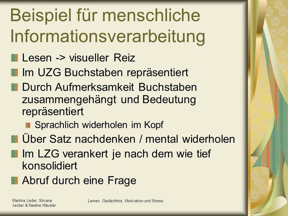 Martina Leder, Silvana Jecker & Nadine Häusler Lernen, Gedächtnis, Motivation und Stress Beispiel für menschliche Informationsverarbeitung Lesen -> vi