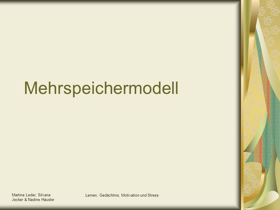 Martina Leder, Silvana Jecker & Nadine Häusler Lernen, Gedächtnis, Motivation und Stress Definition Gedächtnis als die geistige Fähigkeit, Erfahrungen zu speichern und später zu reproduzieren oder wiederzuerkennen.