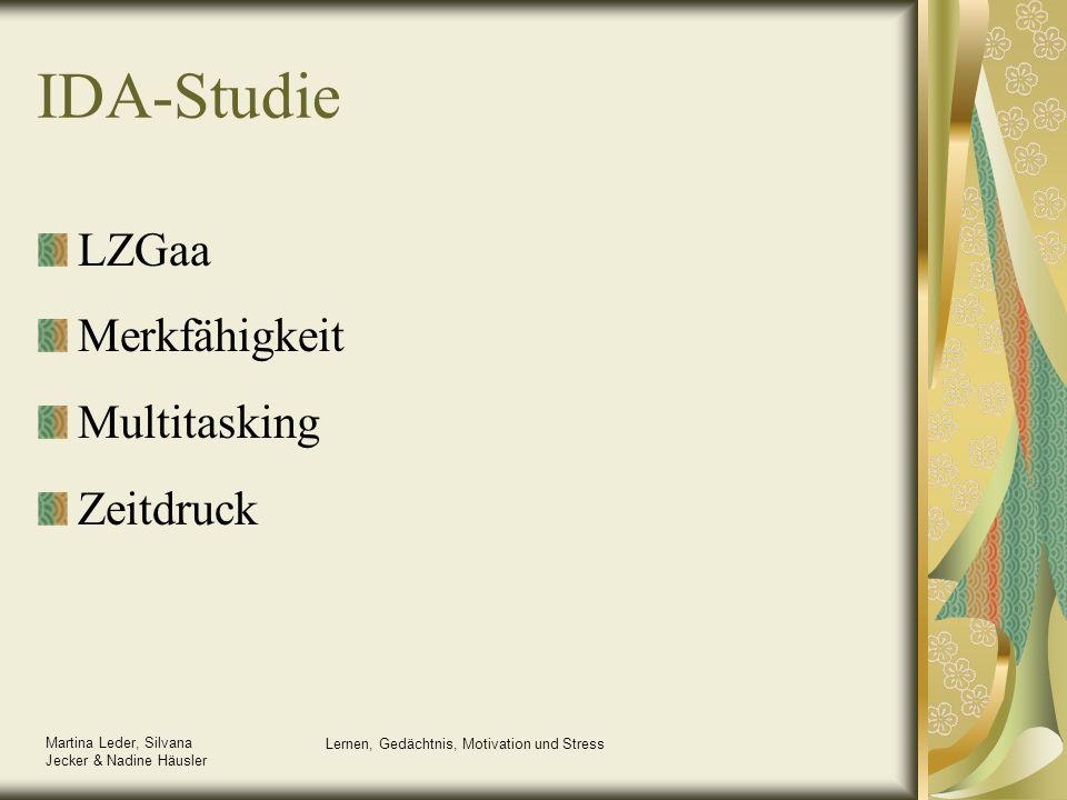 Martina Leder, Silvana Jecker & Nadine Häusler Lernen, Gedächtnis, Motivation und Stress IDA-Studie LZGaa Merkfähigkeit Multitasking Zeitdruck