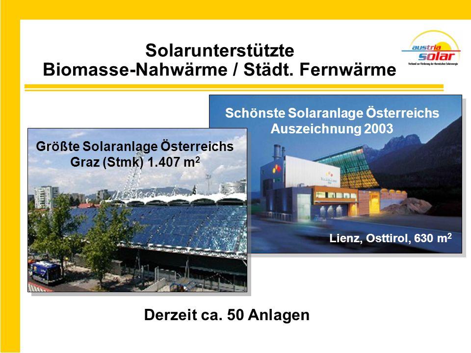 Solarunterstützte Biomasse-Nahwärme / Städt. Fernwärme Derzeit ca. 50 Anlagen Schönste Solaranlage Österreichs Auszeichnung 2003 Größte Solaranlage Ös