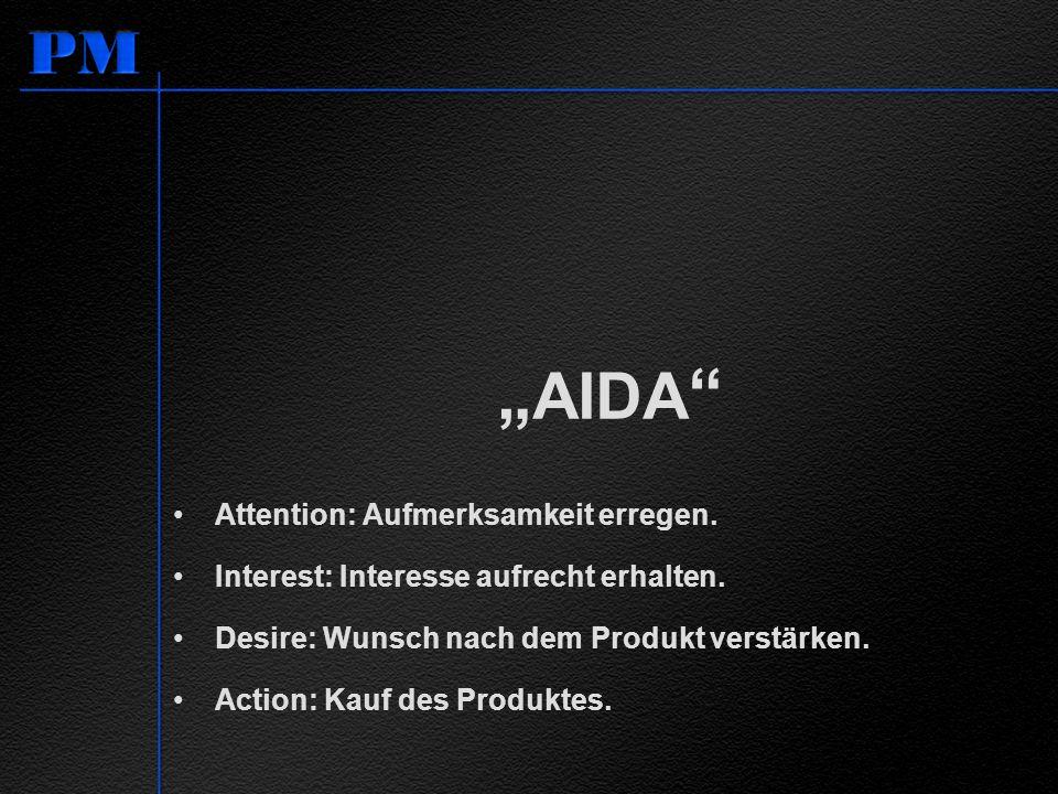 AIDA Attention: Aufmerksamkeit erregen. Interest: Interesse aufrecht erhalten. Desire: Wunsch nach dem Produkt verstärken. Action: Kauf des Produktes.