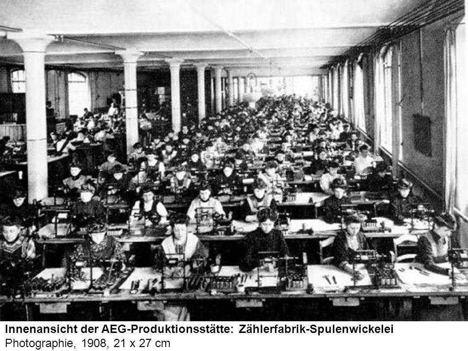 Innenansicht der AEG-Produktionsstätte: Zählerfabrik-Spulenwickelei Photographie, 1908, 21 x 27 cm