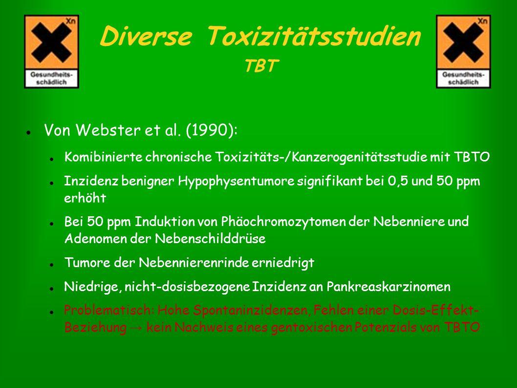 Diverse Toxizitätsstudien TBT Von Webster et al. (1990): Komibinierte chronische Toxizitäts-/Kanzerogenitätsstudie mit TBTO Inzidenz benigner Hypophys