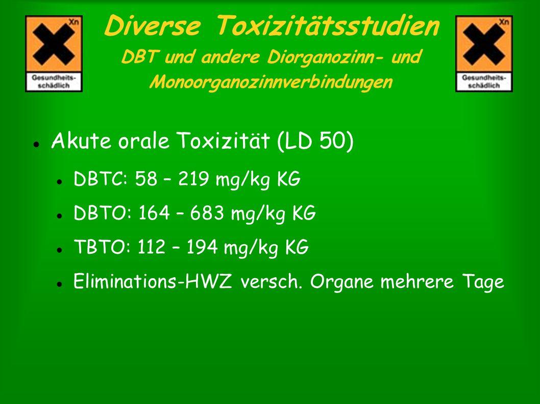 Diverse Toxizitätsstudien DBT und andere Diorganozinn- und Monoorganozinnverbindungen Akute orale Toxizität (LD 50) DBTC: 58 – 219 mg/kg KG DBTO: 164
