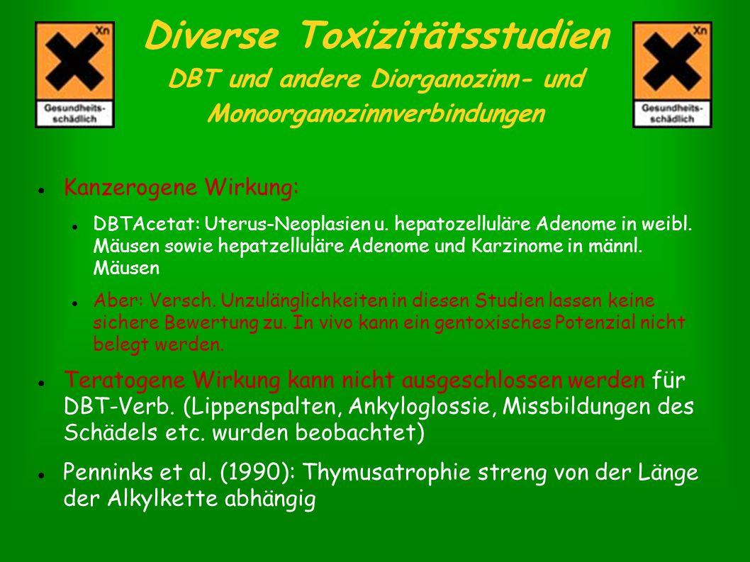 Diverse Toxizitätsstudien DBT und andere Diorganozinn- und Monoorganozinnverbindungen Kanzerogene Wirkung: DBTAcetat: Uterus-Neoplasien u. hepatozellu