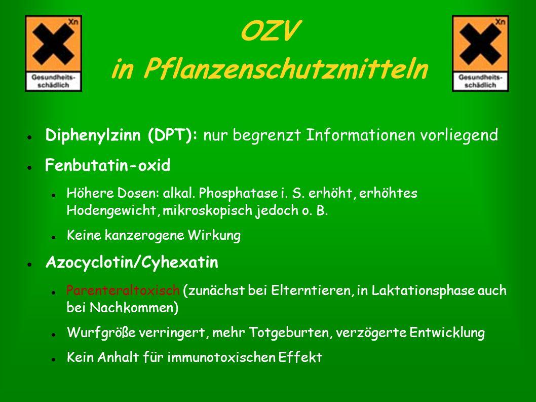 OZV in Pflanzenschutzmitteln Diphenylzinn (DPT): nur begrenzt Informationen vorliegend Fenbutatin-oxid Höhere Dosen: alkal. Phosphatase i. S. erhöht,