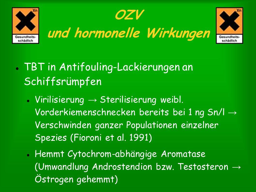 OZV und hormonelle Wirkungen TBT in Antifouling-Lackierungen an Schiffsrümpfen Virilisierung Sterilisierung weibl. Vorderkiemenschnecken bereits bei 1