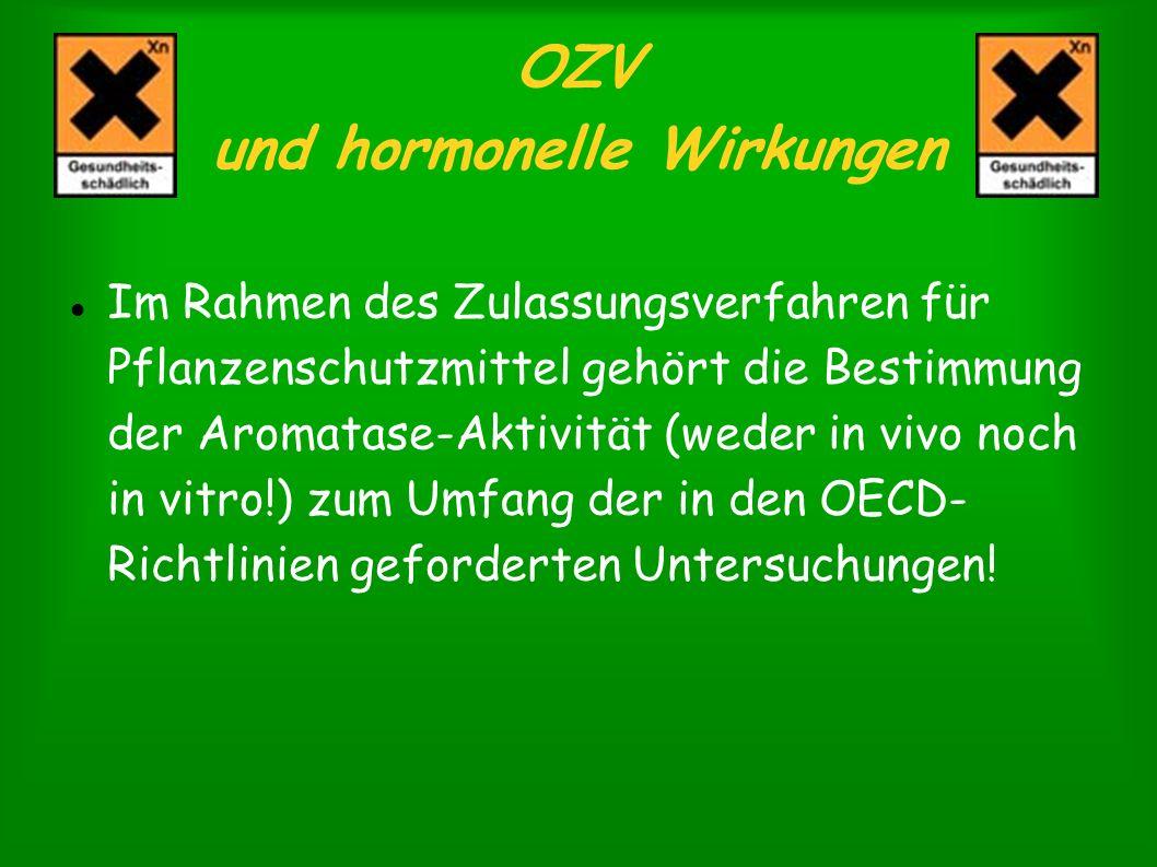 OZV und hormonelle Wirkungen Im Rahmen des Zulassungsverfahren für Pflanzenschutzmittel gehört die Bestimmung der Aromatase-Aktivität (weder in vivo n