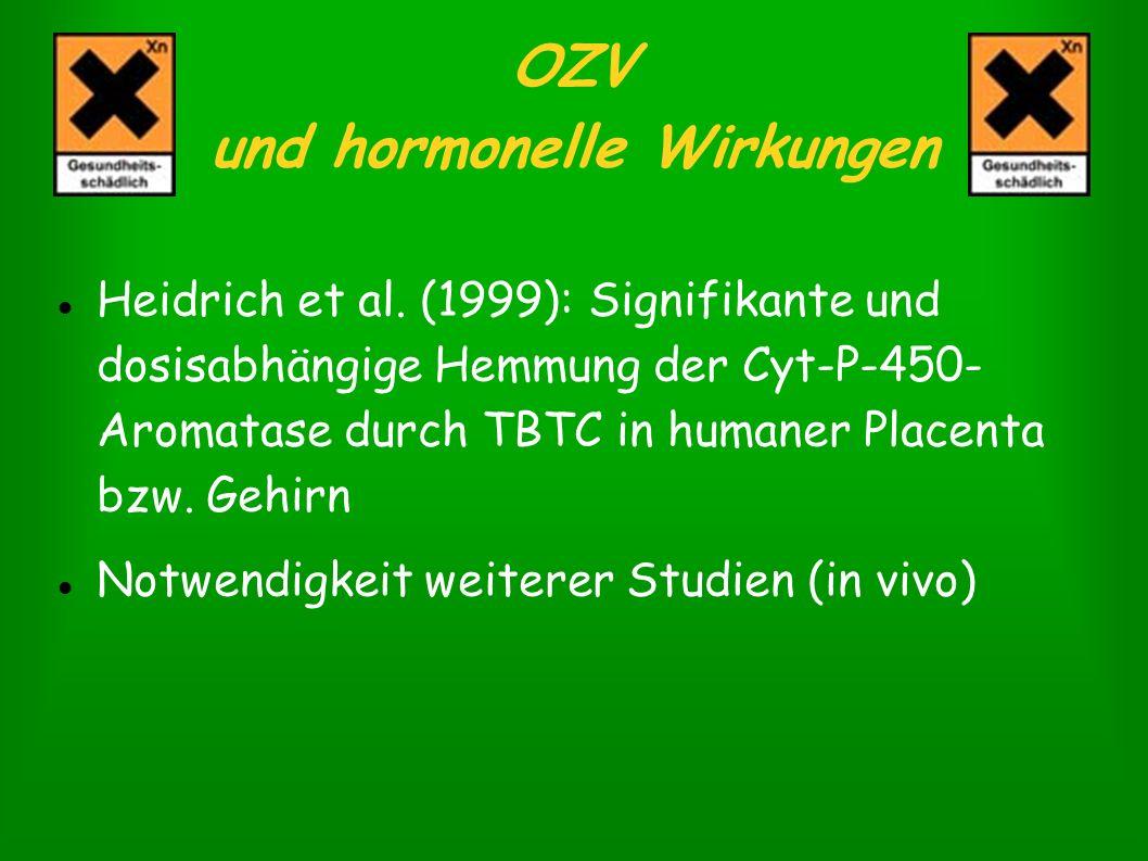 OZV und hormonelle Wirkungen Heidrich et al. (1999): Signifikante und dosisabhängige Hemmung der Cyt-P-450- Aromatase durch TBTC in humaner Placenta b