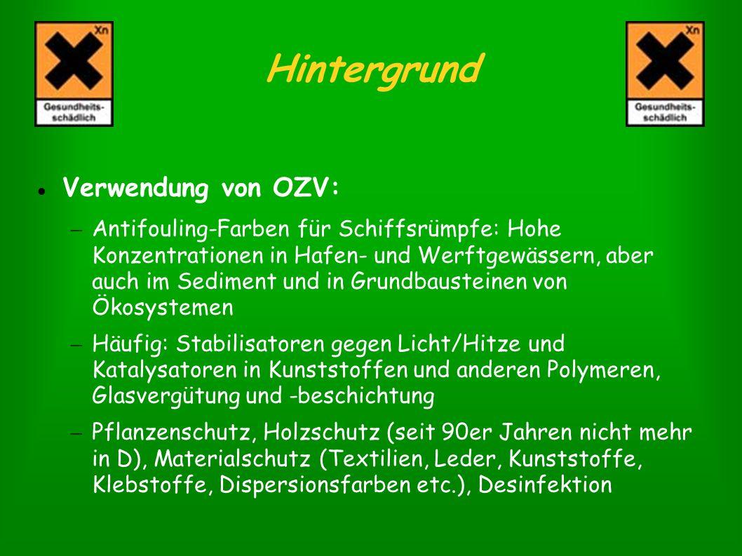Hintergrund Verwendung von OZV: – Antifouling-Farben für Schiffsrümpfe: Hohe Konzentrationen in Hafen- und Werftgewässern, aber auch im Sediment und i