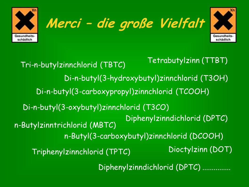 Tri-n-butylzinnchlorid (TBTC) Di-n-butyl(3-hydroxybutyl)zinnchlorid (T3OH) Di-n-butyl(3-carboxypropyl)zinnchlorid (TCOOH) Di-n-butyl(3-oxybutyl)zinnch