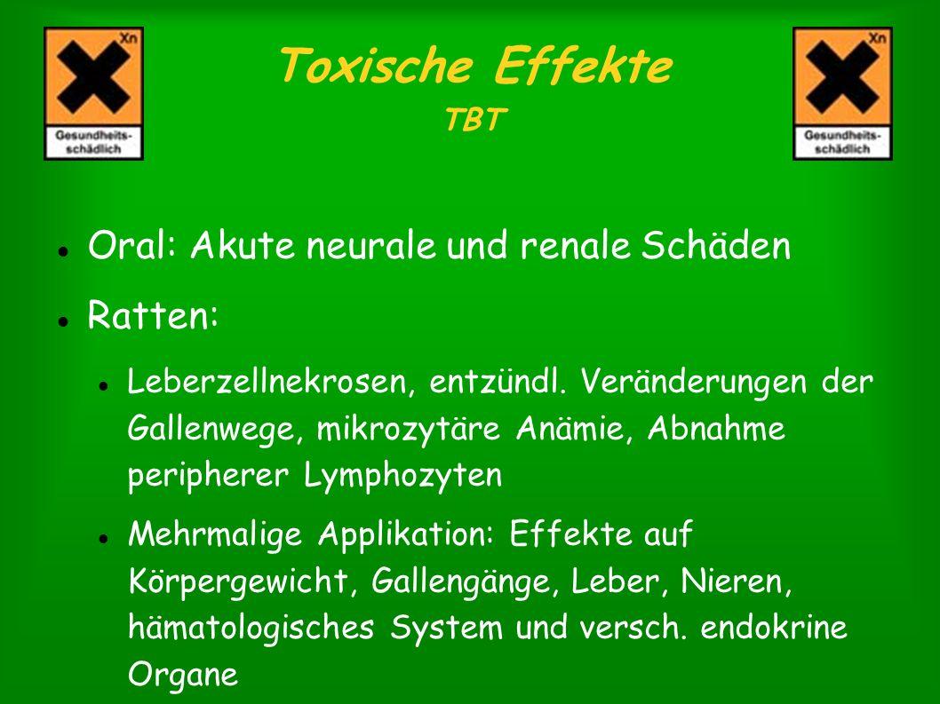 Toxische Effekte TBT Oral: Akute neurale und renale Schäden Ratten: Leberzellnekrosen, entzündl. Veränderungen der Gallenwege, mikrozytäre Anämie, Abn