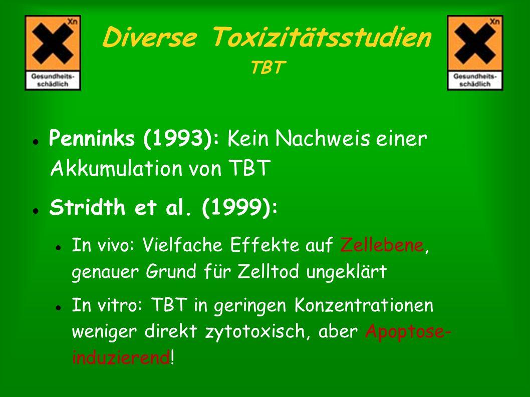 Diverse Toxizitätsstudien TBT Penninks (1993): Kein Nachweis einer Akkumulation von TBT Stridth et al. (1999): In vivo: Vielfache Effekte auf Zelleben