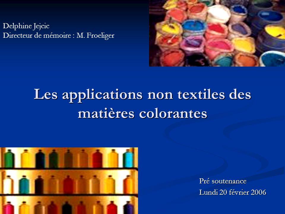 Les applications non textiles des matières colorantes Pré soutenance Lundi 20 février 2006 Delphine Jejcic Directeur de mémoire : M. Froeliger