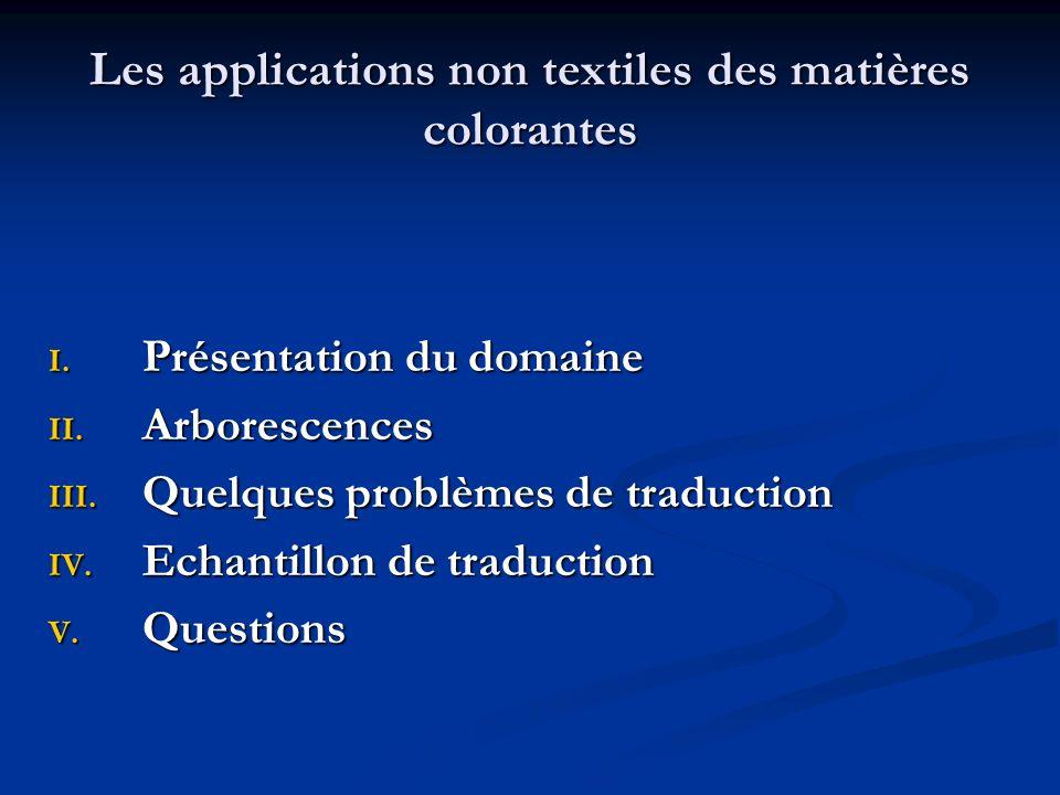 Les applications non textiles des matières colorantes I. Présentation du domaine II. Arborescences III. Quelques problèmes de traduction IV. Echantill