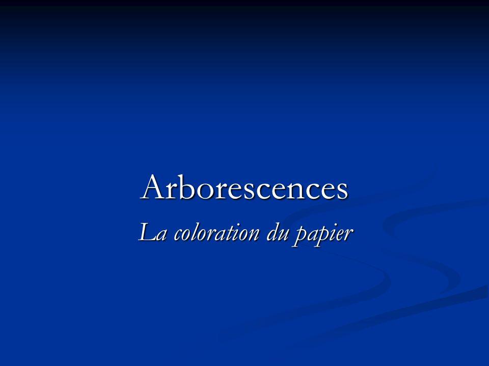 Arborescences Quand se situe le processus de coloration dans la fabrication du papier .