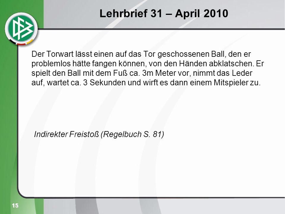 15 Lehrbrief 31 – April 2010 Der Torwart lässt einen auf das Tor geschossenen Ball, den er problemlos hätte fangen können, von den Händen abklatschen.