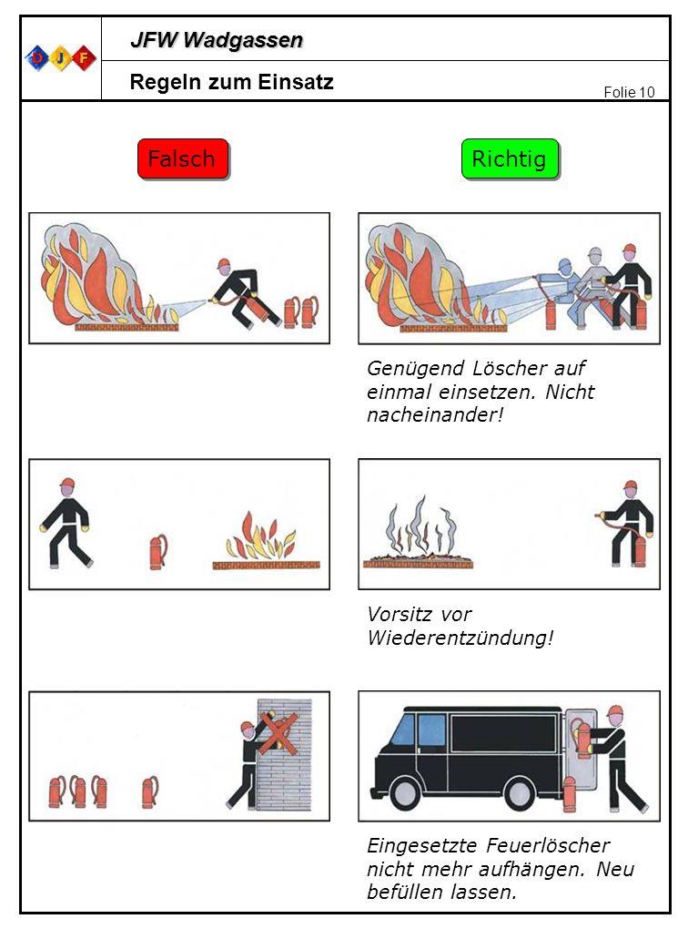 JFW Wadgassen Folie 10 Regeln zum Einsatz Falsch Richtig Genügend Löscher auf einmal einsetzen. Nicht nacheinander! Vorsitz vor Wiederentzündung! Eing