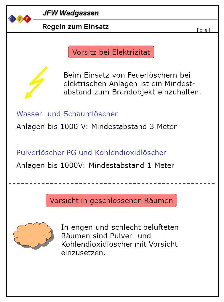 JFW Wadgassen Folie 11 Regeln zum Einsatz Vorsitz bei Elektrizität Beim Einsatz von Feuerlöschern bei elektrischen Anlagen ist ein Mindest- abstand zu