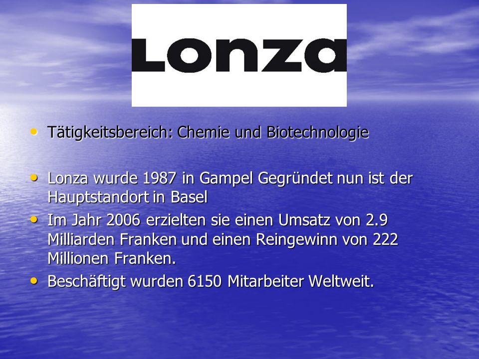 Tätigkeitsbereich: Chemie und Biotechnologie Tätigkeitsbereich: Chemie und Biotechnologie Lonza wurde 1987 in Gampel Gegründet nun ist der Hauptstandort in Basel Lonza wurde 1987 in Gampel Gegründet nun ist der Hauptstandort in Basel Im Jahr 2006 erzielten sie einen Umsatz von 2.9 Milliarden Franken und einen Reingewinn von 222 Millionen Franken.