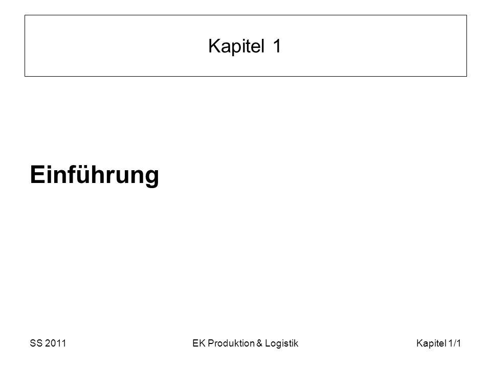 SS 2011EK Produktion & LogistikKapitel 1/12 Begriffsbestimmungen IV Beachtung der folgende Aspekte bei der Erzielung von Wertschöpfung: Zeit : Reduktion unproduktiver Vorgänge (z.B.