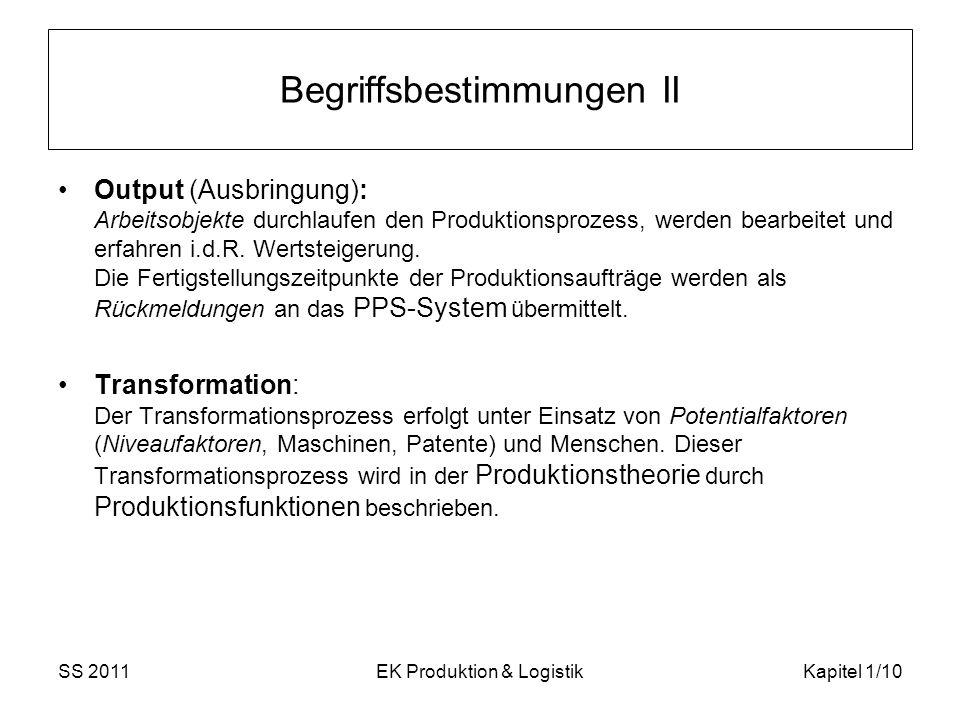 SS 2011EK Produktion & LogistikKapitel 1/10 Begriffsbestimmungen II Output (Ausbringung): Arbeitsobjekte durchlaufen den Produktionsprozess, werden be