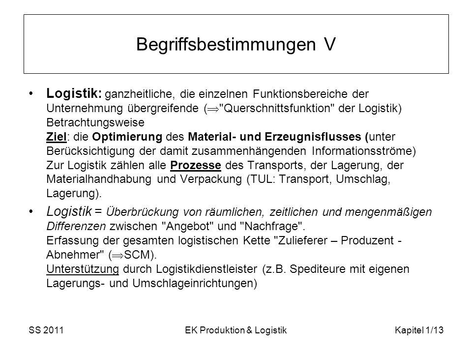 SS 2011EK Produktion & LogistikKapitel 1/13 Begriffsbestimmungen V Logistik: ganzheitliche, die einzelnen Funktionsbereiche der Unternehmung übergreif
