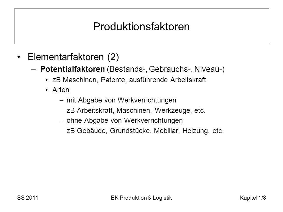SS 2011EK Produktion & LogistikKapitel 1/8 Produktionsfaktoren Elementarfaktoren (2) –Potentialfaktoren (Bestands-, Gebrauchs-, Niveau-) zB Maschinen,
