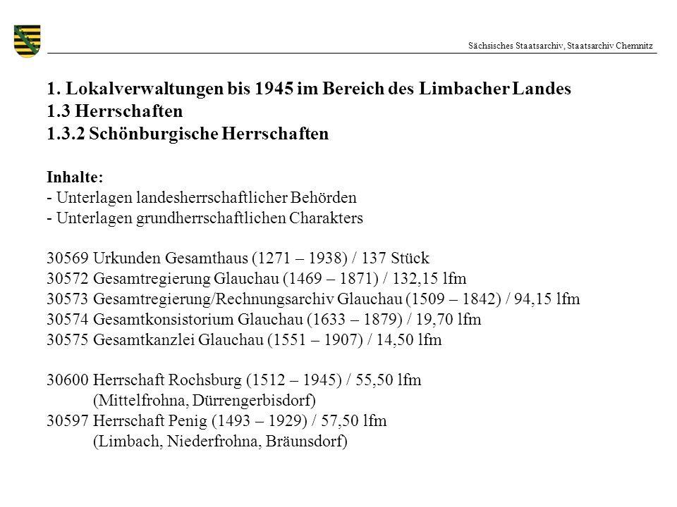 Sächsisches Staatsarchiv, Staatsarchiv Chemnitz 1. Lokalverwaltungen bis 1945 im Bereich des Limbacher Landes 1.3 Herrschaften 1.3.2 Schönburgische He